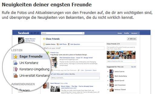 Intelligente Freundeslisten bringen Ordnung in die Neuigkeiten bei Facebook